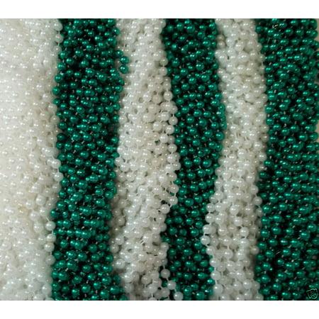 48 Green White St. Patricks Day Mardi Gras Beads Party Favors Necklaces 4 Dozen - White Bead Necklaces