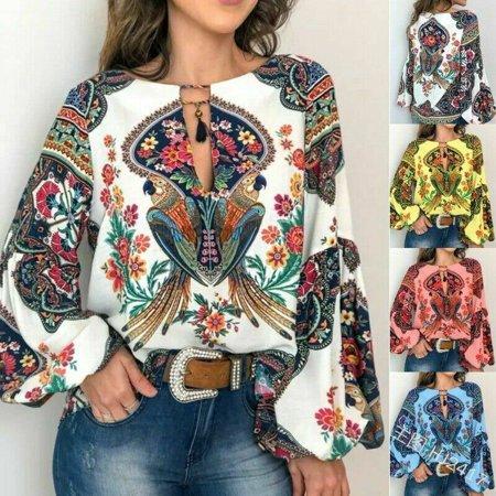 Women Boho Floral V-Neck Long Lantern Sleeve Oversize Blouse T Shirt Tops S-3XL Lantern Sleeve V-neck Top