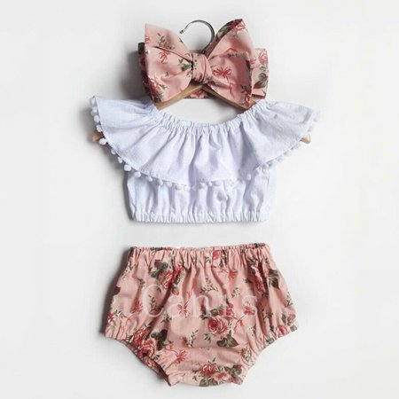 3PCS Newborn Toddler Baby Girls Floral Tops Crop Shorts Outfits Summer Clothes Set - Roaring 20 Outfits