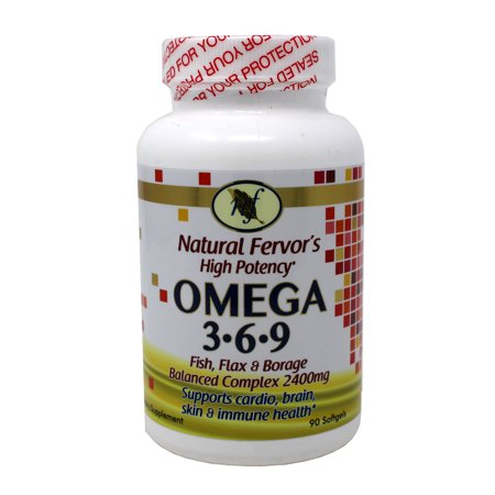 Natural Fervor's High Potency Omega 3,6,9 Fish, Flax & Borage Oil 90 Softgels
