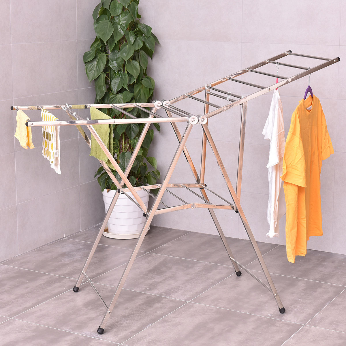 Costway 58'' Folding Clothes Drying Rack Laundry Dry Hanger Heavy Duty Stainless Steel