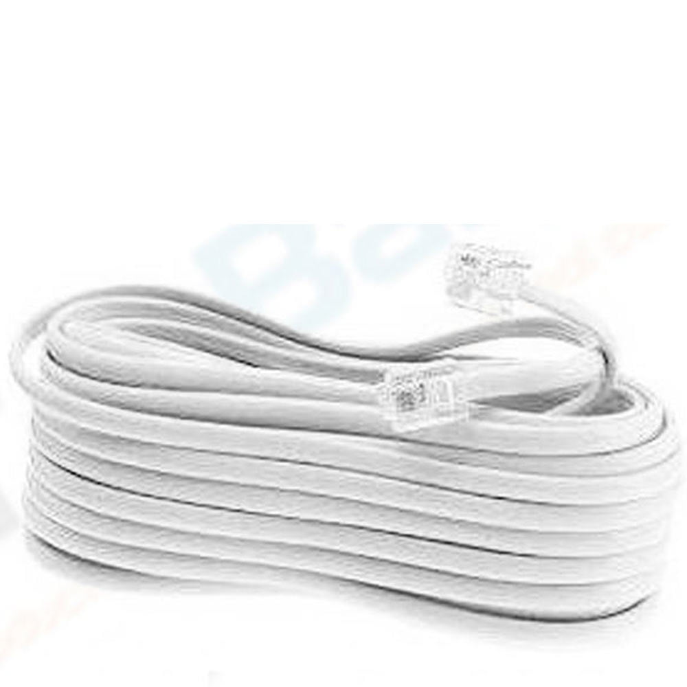 new 50 ft foot telephone phone extension cord cable line wire white