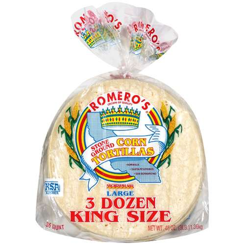 Romero's Stone Ground Corn  King Size Tortillas, 36 ct