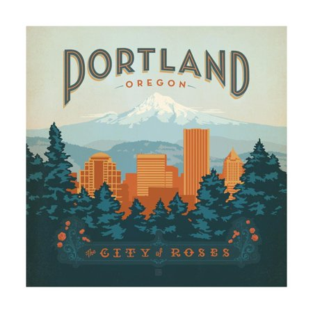 Portland, Oregon: City of Roses Travel Advertisement Print Wall Art By Anderson Design (Mall Portland)