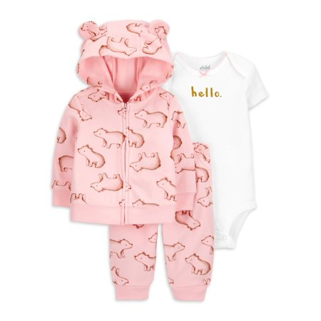 Child of Mine by Carters Baby Girl Fleece Cardigan, Bodysuit & Leggings, 3pc Outfit Set