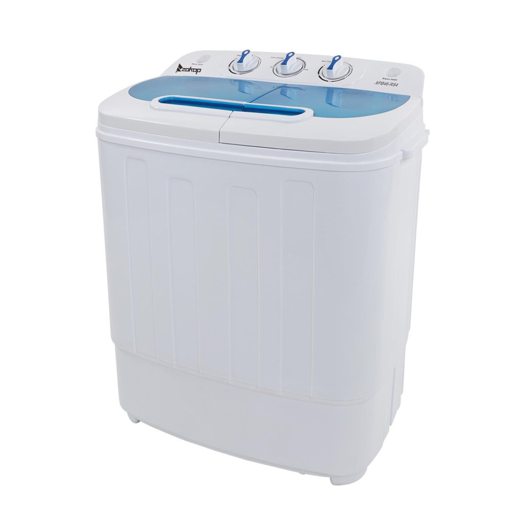 Ktaxon 13.4lbs Portable Mini Washing Machine Compact Twin Tub Wash 7.9LBS+Spin 5.5LBS Capacity Washer Spin Dryer,White & Blue