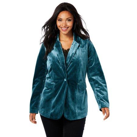 Roaman's Plus Size Velvet Blazer