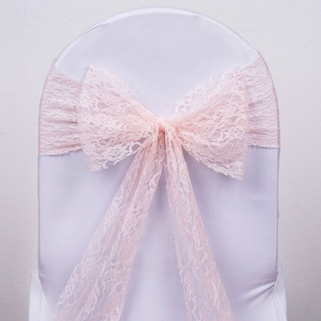 BalsaCircle 5 New Lace Chair Sashes Bows Ties - Wedding Party Ceremony Reception Event Decorations Unique Supplies - Pink Flamingo Decorations Supplies