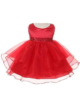 Infant & Baby Flower Girl Dress with Sequin Embellished Waistline Coral L B111