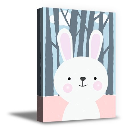 Awkward Styles Bunny Forest Nursery Room Wall Decor Forest Wallpaper Baby Room Art Gifts Bunny Picture Baby Girl Room Decor Cute Bunny Canvas Printed Decor Baby Boy Room Bunny Decor Art