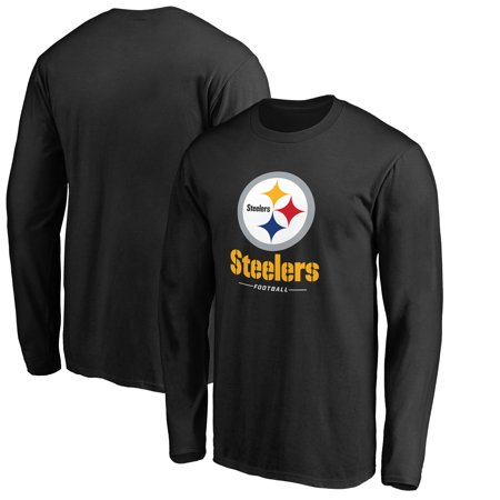 Black Long T-shirt - Pittsburgh Steelers NFL Pro Line by Fanatics Branded Team Lockup Long Sleeve T-Shirt - Black