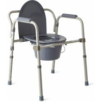 Medline Steel Foldable 3-in-1 Bedside Toilet Commode