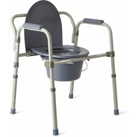 Medline Steel Foldable 3-in-1 Bedside Toilet Commode - Walmart.com