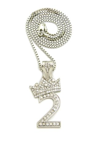 Stone stud tilded crown number pendant with 2mm 24 box chain stone stud tilded crown number pendant with 2mm 24 box chain necklace 2 silver tone aloadofball Image collections