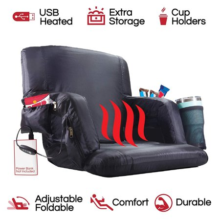 The Hot Seat | Heated Stadium Bleacher Seat |Reclining Back & Arm Support |Thick Cushion |4 Storage Pockets + Cup Holder| Extra Wide Feature | Battery Pack Not