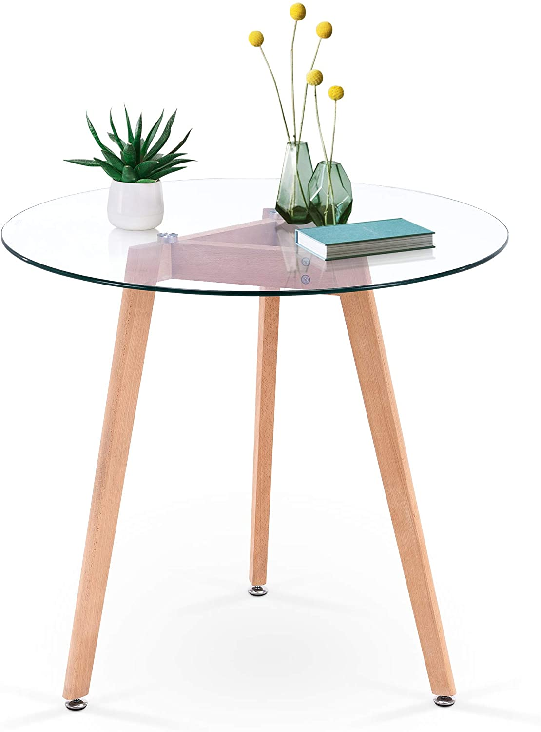 ivinta modern dining table round glass coffee table small