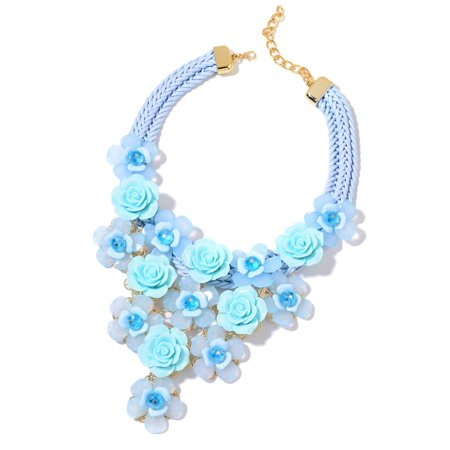 Blue Chunky Chain Choker Bib Flower Statement Pendant Necklace for Women Chroma Glass Goldtone Jewelry Gift 18-20