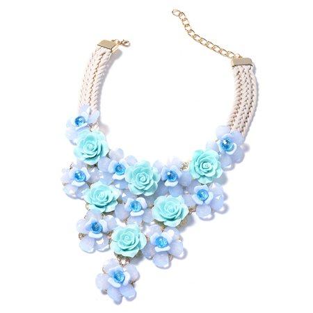 Blue Chunky Chain Choker Bib Flower Statement Pendant Necklace Chroma Glass Goldtone 18-20