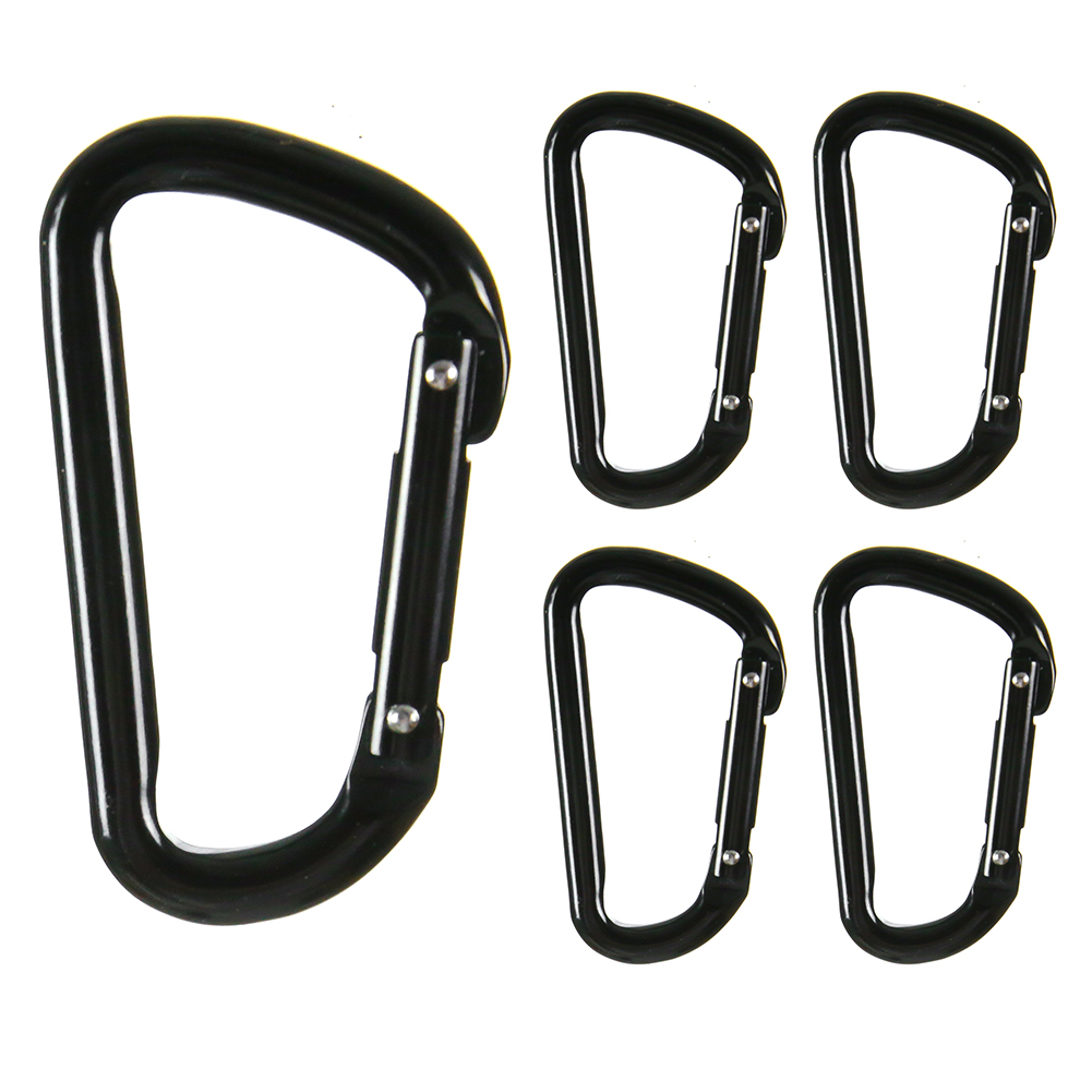 "Fusion Climb I-Clip 3.25"" Aluminum Novelty Design Compact Carabiner Keychain Backpack Snap Hook Jet Black 5-Pack"