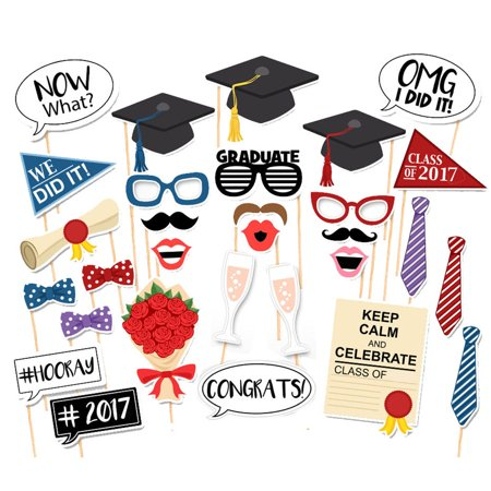 Graduation Party Phtoto Booth Props 2017 Graduation Party Decorations Attached to the Stick, 30pcs - Graduation 2017