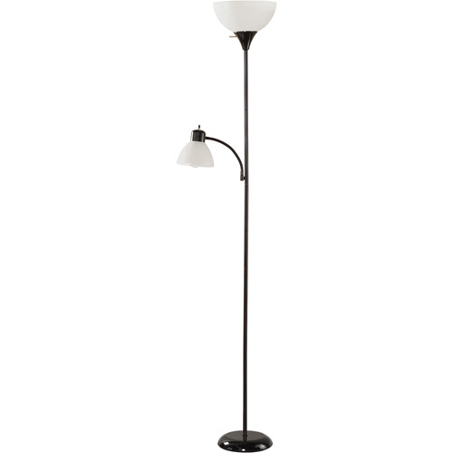 Mainstays Black Floor Lamp with Reading Light and CFL Bulbs, HW-F1219BK-CA