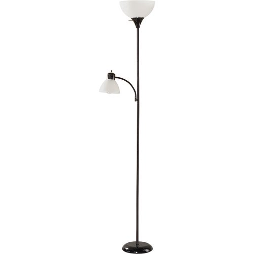 Mainstays Black Floor Lamp with Reading Light and CFL Bulbs, HW ...