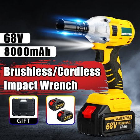 68V 8000mAh 460N.m 2 x Li-ion Batteries Brushless Cordless Electric Impact Wrench Socket Wrench with LED Light Strong Powerful Hand Drill Hammer Car Repair Wood Working Power
