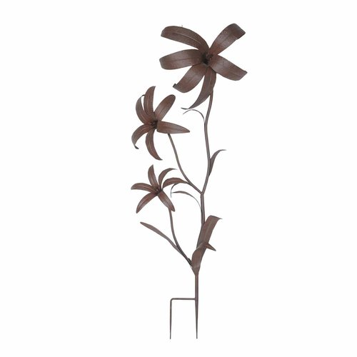 """Sunjoy 110309042 Giant Flower Garden Stake, Metal with rust Finish, 74"""" by SunNest Services LLC"""