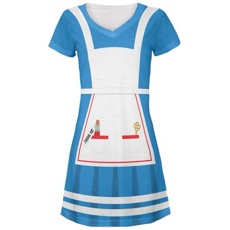 Halloween Alice in Wonderland Classic Costume Juniors V-Neck Beach Cover-Up Dress - Alice In Wonderland Costume For Girls