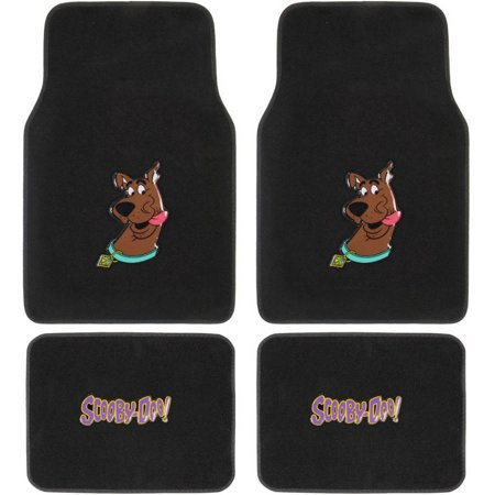 BDK Scooby-Doo Head Sticking Out Tongue Front and Rear Seat Car Truck SUV Carpet Floor Mats, 4-Piece Carpet Floor Mats Rear Wheel