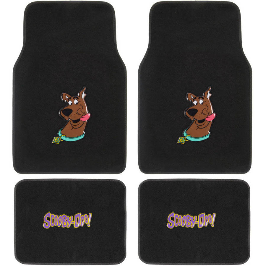 BDK Scooby-Doo Head Sticking Out Tongue Front and Rear Seat Car Truck SUV Carpet Floor Mats, 4-Piece