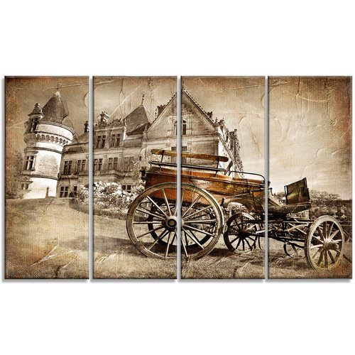 Design Art Medieval Castle with Carriage Contemporary 4 Piece Graphic Art on Wrapped Canvas Set