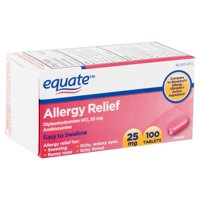 Equate Allergy Relief Diphenhydramine Tablets 25mg, 100 Ct