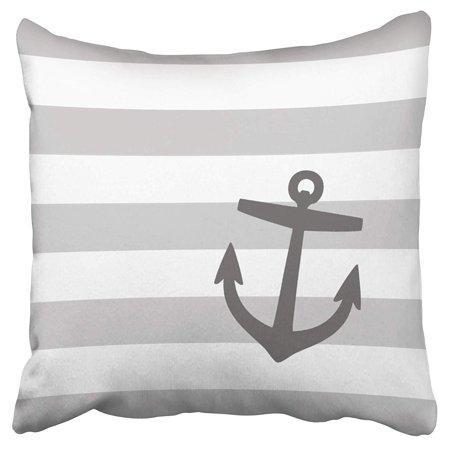 ECCOT Elegant Stripe Pattern Gray and Charcoal Nautical Stripes and Cute Anchor Pillow Case Pillow Cover 20x20 inch