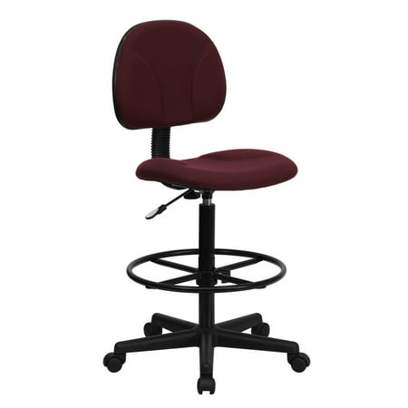 """42.75"""" Burgundy Red and Black Fabric Drafting Chair with Mid-Back Design"""
