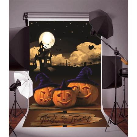 HelloDecor Polyster Backdrop 5x7ft Photography Background Pumpkin Hat Grimace Moon and Haunted House Kids Child Trick or Treat Halloween Background Backdrop Video Photo Studio Props](Background Halloween Music For Kids)