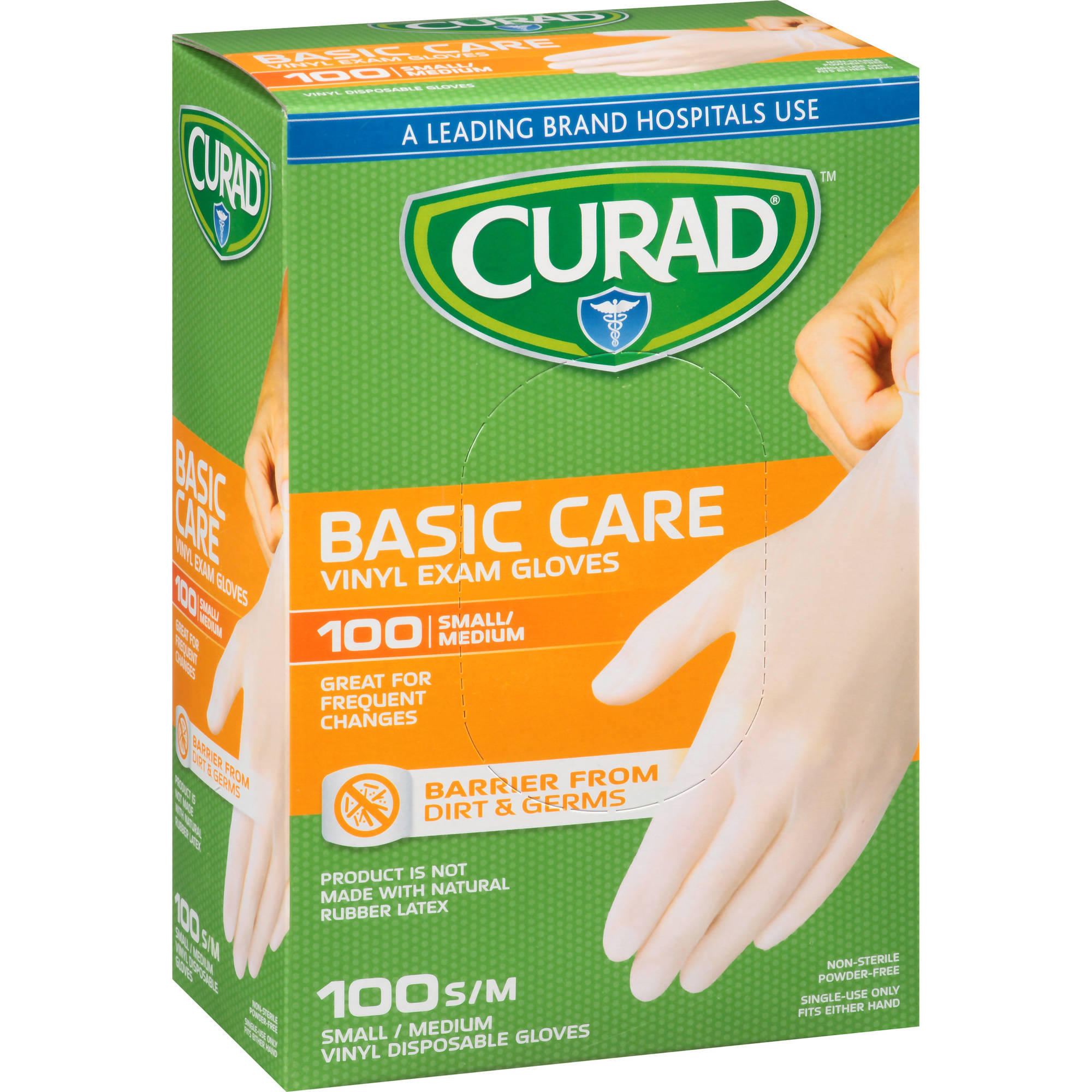 Curad Basic Care Vinyl Exam Gloves, Small/Medium, 100 count