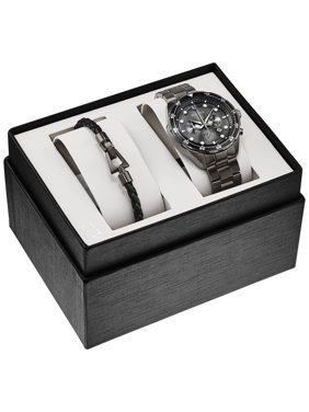 Bulova Men's Chronograph Boxed Set Watch with Leather Braided Bracelet