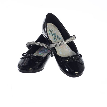 Girls Black Patent Rhinestone Strap Summer Dress Shoes