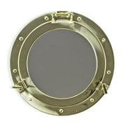 Bey-Berk International BB05 11.5 in. Brass Porthole Mirror, Gold
