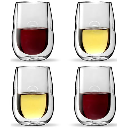 Palmetto Double Wine - Ozeri Moderna Artisan Series Double Wall Insulated Wine Glasses - Set of 4 Wine and Beverage Glasses