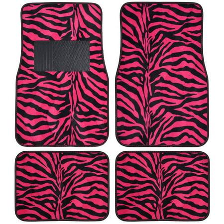 BDK Zebra Car Floor Mats, Animal Prints Mat, 4 Pieces, Hot Pink