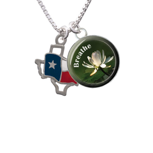"""Texas Outline with Flag Breathe with Flower Glass Dome Necklace, 18""""+2"""""""