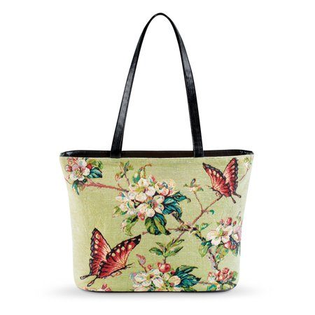 Women's Floral Tapestry Butterfly Print Over-The-Shoulder Handbag with Two Pockets and a Zipped Compartment,