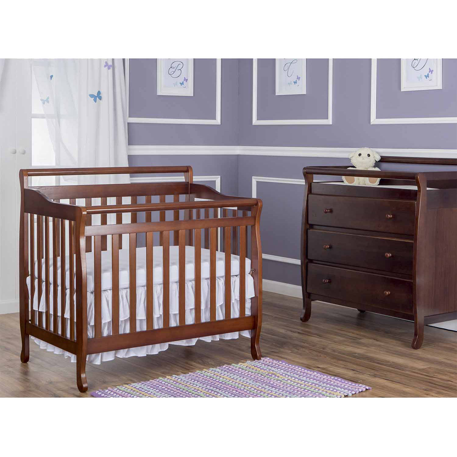 Dream On Me Niko 5 in 1 Convertible Crib with Changer Cherry
