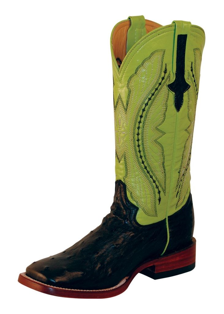 Ferrini Western Boots Womens Full Quill Ostrich Black Lime 80193-04