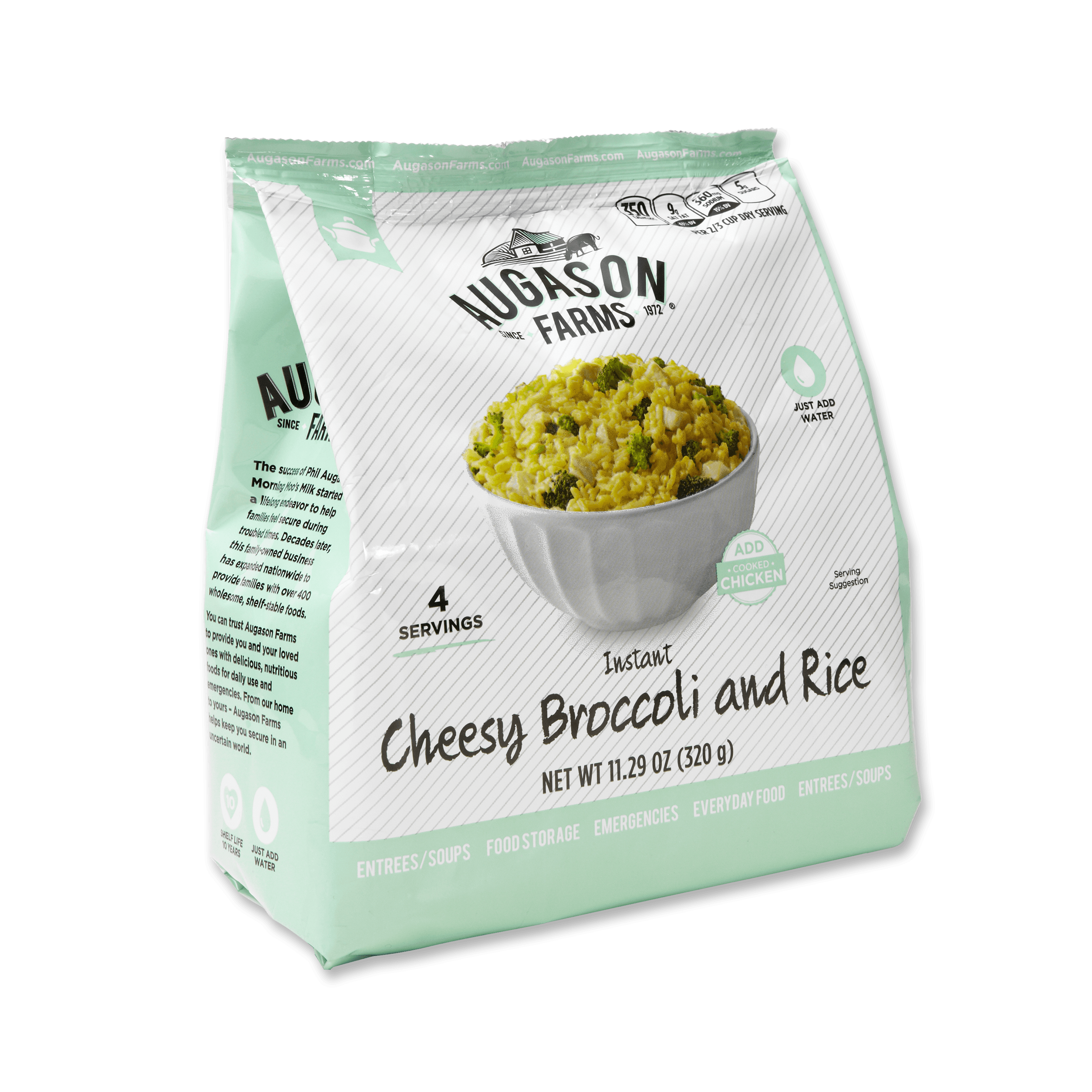 Augason Farms Instant Cheesy Broccoli and Rice 11.3 oz Pantry Pouch