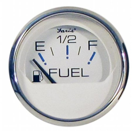 Faria Beede Instruments 13801 2 in. Chesapeake White Stainless Steel Fuel Level Gauge
