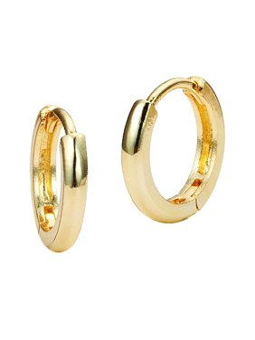 1ddebafc6 Product Image 14k Gold Plated Brass Small Plain Hoop Huggie Baby Girls  Earrings