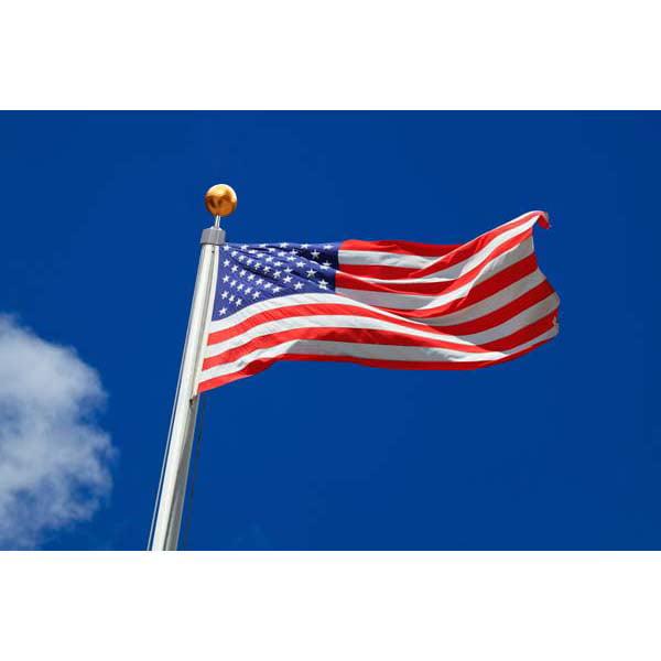Zeny 20FT Sectional Flag Pole 3'x5' American Flag & Ball Top Kit Hardware Outdoor Garden Halyard Pole Inground Flagpole